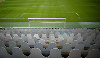 20th May 2020; Mönchengladbach, North Rhine-Westphalia, Germany; Fans of the Moenchengadbach team place cardboard replicas of fans in support of their football team during training and games with zero fans allowed due to the Covid-19 pandemic