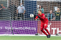 HARTFORD, CT - AUGUST 17: Paul Lewis #28 of Charleston Battery makes a save during a game between Charleston Battery and Hartford Athletic at Dillon Stadium on August 17, 2021 in Hartford, Connecticut.