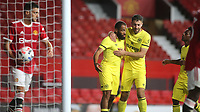 Bryan Mbeumo celebrates scoring Brentford's second goal with Halil Dervisoglu during Manchester United vs Brentford, Friendly Match Football at Old Trafford on 28th July 2021