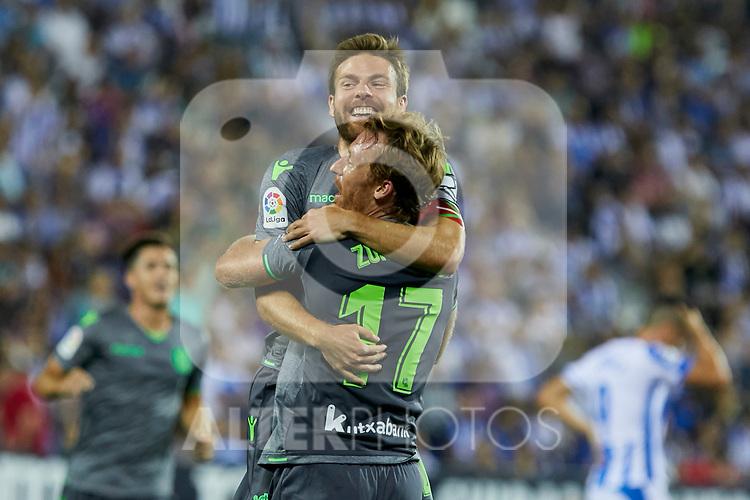 Real Sociedad's Asier Illarramendi (u) and David Zurutuza (d) celebrate goal during La Liga match. August 24, 2018. (ALTERPHOTOS/A. Perez Meca)