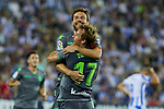Real Sociedad's Asier Illarramendi (u) and David Zurutuza (d) celebrate goal during La Liga match. August 24, 2018. (ALTERPHOTOS/A. Perez Meca)