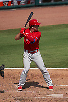 Philadelphia Phillies Scott Kingery (4) bats during a Major League Spring Training game against the Baltimore Orioles on March 12, 2021 at the Ed Smith Stadium in Sarasota, Florida.  (Mike Janes/Four Seam Images)