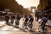 Peloton with team Ineos riding the Champs-Elysée cobbles.<br /> <br /> Stage 21: Rambouillet to Paris (128km)<br /> 106th Tour de France 2019 (2.UWT)<br /> <br /> ©kramon