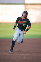 Great Falls Voyagers second baseman Amado Nunez (15) hustles towards third base during a Pioneer League game against the Idaho Falls Chukars at Melaleuca Field on August 18, 2018 in Idaho Falls, Idaho. The Idaho Falls Chukars defeated the Great Falls Voyagers by a score of 6-5. (Zachary Lucy/Four Seam Images)