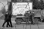 Greenham Common RAF base 1983 British Army military police protect RAF base, during the CND Womens Peace Camp blockade. 1980s UK