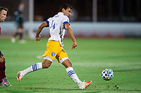 LAKE BUENA VISTA, FL - JULY 27: Oswaldo Alanis #4 of the San Jose Earthquakes dribbles the ball during a game between San Jose Earthquakes and Real Salt Lake at ESPN Wide World of Sports on July 27, 2020 in Lake Buena Vista, Florida.