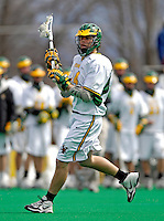 14 April 2007: University of Vermont Catamounts' Pete Hein, a Senior from Greenwood Village, CO, in action against the University of Albany Great Danes at Moulton Winder Field, in Burlington, Vermont. The Great Danes defeated the Catamounts 14-7...Mandatory Photo Credit: Ed Wolfstein Photo