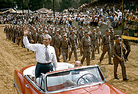 Indiana Congressman William G. Bray waves during 68th Labor Day Celebration, September 4-6, 1954, Princeton Indiana. Photo by John G. Zimmerman.