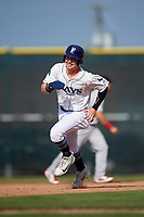 Princeton Rays center fielder Grant Witherspoon (5) runs the bases during the first game of a doubleheader against the Johnson City Cardinals on August 17, 2018 at Hunnicutt Field in Princeton, Virginia.  Johnson City defeated Princeton 6-4.  (Mike Janes/Four Seam Images)