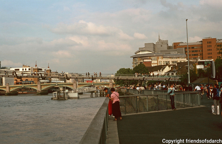London:  5. Panorama from Bankside at Tate Modern. Towers of Cannon St. Station to left.  Photo '90.