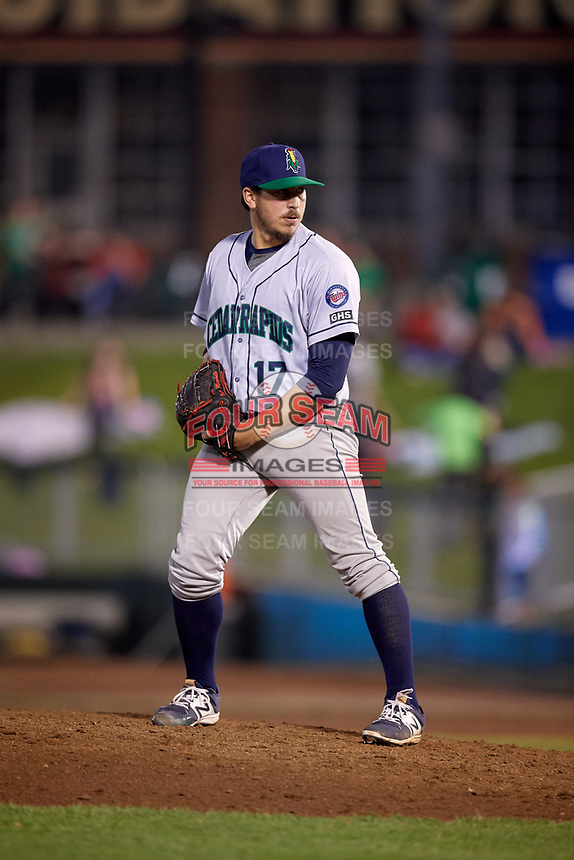 Cedar Rapids Kernels relief pitcher Tom Hackimer (17) gets ready to deliver a pitch during a game against the Dayton Dragons on May 10, 2017 at Fifth Third Field in Dayton, Ohio.  Cedar Rapids defeated Dayton 6-5 in ten innings.  (Mike Janes/Four Seam Images)