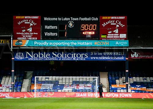 21st November 2020; Kenilworth Road, Luton, Bedfordshire, England; English Football League Championship Football, Luton Town versus Blackburn Rovers; Final score 1-1 displayed on the scoreboard