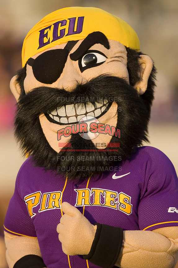 Petey the Pirate entertains fans during the baseball game between the East Carolina Pirates and the Elon Phoenix at Clark-LeClair Stadium March 29, 2009 in Greenville, North Carolina. (Photo by Brian Westerholt / Four Seam Images)
