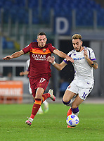 Football, Serie A: AS Roma - Fiorentina, Olympic stadium, Rome, November 1, 2020. <br /> Fiorentina Gaetano Castrlovilli (r) in action with Roma's Jordan Veretout (l) during the Italian Serie A football match between Roma and Fiorentina at Olympic stadium in Rome, on November 1, 2020. <br /> UPDATE IMAGES PRESS/Isabella Bonotto