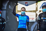 Mariia Novolodskaia (RUS) A.R. Monex Women's Pro Cycling Team at the team presentations before the start of Liege-Bastogne-Liege Femmes 2021, running 141km from Bastogne to Liege, Belgium. 25th April 2021.  <br /> Picture: A.S.O./Gautier Demouveaux | Cyclefile<br /> <br /> All photos usage must carry mandatory copyright credit (© Cyclefile | A.S.O./Gautier Demouveaux)