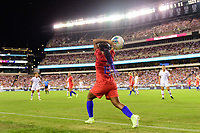 PHILADELPHIA, PA - AUGUST 29: Crystal Dunn #19 of the United States on a throw in during a game between Portugal and USWNT at Lincoln Financial Field on August 29, 2019 in Philadelphia, PA.
