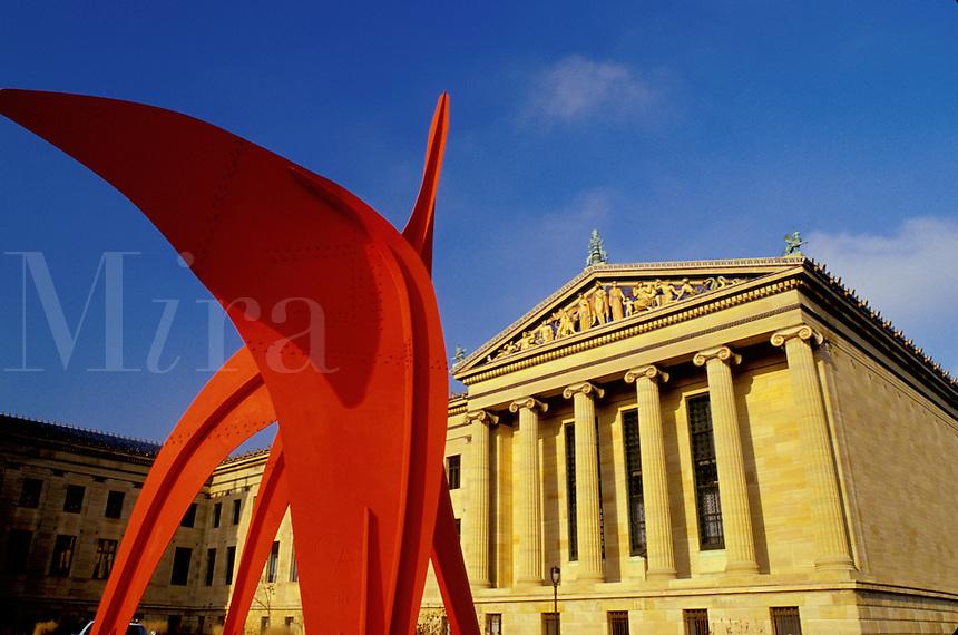 art museum, Philadelphia, PA, Pennsylvania, Philadelphia Museum of Art, red (Calder) sculpture, Philadelphia.