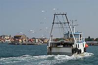 - peschereccio in navigazione a Chioggia, città lagunare a sud di Venezia)....- fishing boat in navigation at  Chioggia, lagoon city south of Venice ( Italy ) Italia