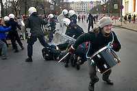 22.03.2003, Oslo Norway: .Anti war protest (Iraq war) started peacefully, but eventually escalated into riots and clashes with police.
