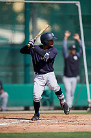 GCL Yankees West second baseman Luis Santos (2) at bat during the first game of a doubleheader against the GCL Braves on July 30, 2018 at Champion Stadium in Kissimmee, Florida.  GCL Yankees West defeated GCL Braves 7-5.  (Mike Janes/Four Seam Images)
