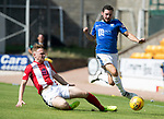 St Johnstone v East Fife…14.07.18…  McDiarmid Park    League Cup<br />Drey Wright skips a tackle by Ross Davidson<br />Picture by Graeme Hart. <br />Copyright Perthshire Picture Agency<br />Tel: 01738 623350  Mobile: 07990 594431