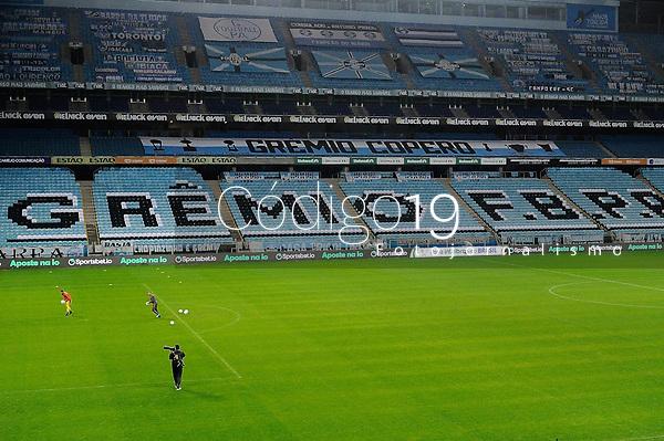 PORTO ALEGRE, RS, 25.08.2021 - GRÊMIO - FLAMENGO - Sem público presente, na partida entre Grêmio e Flamengo, pelas quartas de final da Copa do Brasil 2021, estádio Arena do Grêmio, em Porto Alegre, nesta quarta-feira (25).