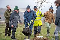 National Forest launch at the Woodland Trust event high on the mountainside above Neath in South Wales this morning at the newly planted Coed Cadw woodland<br /> Re: National Forest launch at the Woodland Trust event high on the mountainside above Neath in South Wales this morning at the newly planted Coed Cadw woodland.