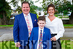 Gavin O'Sullivan with his parents Adrian O'Sullivan and Orla O'Shea at his first holy communion in the Church of the Immaculate Conception, Rathass on Saturday.