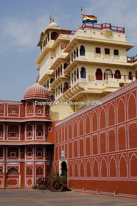 Inside the City Palace which occupies  the centre of the city of Jaipur.  The City Palace covers one seventh of the city area and the plan of the palace is exactly similar to the plan of the city.  Rajasthan State of India.