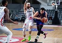 22nd February 2021, Podgorica, Montenegro; Eurobasket International Basketball qualification for the 2022 European Championships, England versus France;  Luke Nelson of Great Britain drives against Isaia Cordinier (FRA)