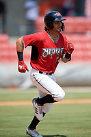 Carolina Mudcats Eddie Silva (28) runs to first base during a Carolina League game against the Winston-Salem Dash on August 14, 2019 at Five County Stadium in Zebulon, North Carolina.  Winston-Salem defeated Carolina 4-2.  (Mike Janes/Four Seam Images)