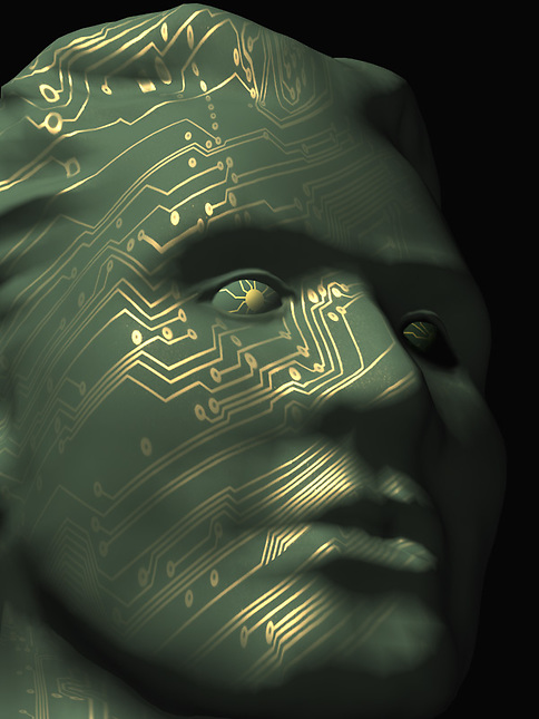 Mans face mapped with circuitry
