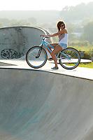 Georgina on DMR jump bike .  Hayle , Cornwall