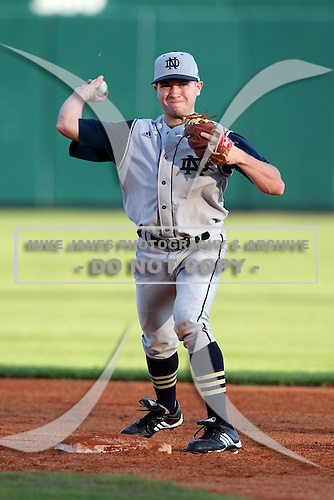 Second Baseman John Rodgers #2 of the Notre Dame Fighting Irish during the Big East-Big Ten Challenge vs. the Purdue Boilermakers at Al Lang Field in St. Petersburg, Florida;  February 19, 2011.  Notre Dame defeated Purdue 19-2.  Photo By Mike Janes/Four Seam Images