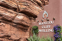 Manitou Cliff Dwellings of the Anasazi, native American Indian tribe. These dwellings were carved out of the soft red sandstone cliffs that offered protection from hostile intruders.