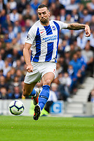 Shane Duffy of Brighton & Hove Albion (4)  during the Premier League match between Brighton and Hove Albion and Manchester United at the American Express Community Stadium, Brighton and Hove, England on 19 August 2018. Photo by Edward Thomas / PRiME Media Images.