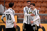Federico Chiesa of Juventus FC celebrates with Paulo Dybala and Gianluca Frabotta after scoring the goal of 0-1 during the Serie A football match between AC Milan and Juventus FC at San Siro Stadium in Milano  (Italy), January 6th, 2021. Photo Federico Tardito / Insidefoto