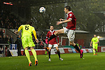 © Joel Goodman - 07973 332324 . 14/11/2015 . Manchester , UK . FC United's SAM MADELEY (r) challenges Gainsborough's STEPHEN BROGAN (l) for the ball , in the air . FC United host Gainsborough Trinity in the National League North at Broadhurst Park . NB requested changing room access three times and was denied three times . Photo credit : Joel Goodman