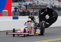 Sept. 18, 2011; Concord, NC, USA: NHRA top fuel dragster driver Doug Kalitta during the O'Reilly Auto Parts Nationals at zMax Dragway. Mandatory Credit: Mark J. Rebilas-