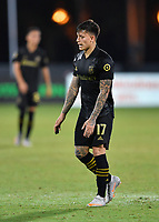 LAKE BUENA VISTA, FL - JULY 18: Brian Rodríguez #17 of LAFC reacts to a missed shot during a game between Los Angeles Galaxy and Los Angeles FC at ESPN Wide World of Sports on July 18, 2020 in Lake Buena Vista, Florida.