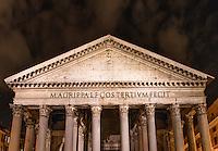 The Pantheon church exterior detail at night, Rome, Italy. Also known as Santa Maria Rotonda.