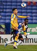 Bolton Wanderers' Arthur Gnahoua competing with Mansfield Town's James Perch (left) <br /> <br /> Photographer Andrew Kearns/CameraSport<br /> <br /> The EFL Sky Bet League Two - Bolton Wanderers v Mansfield Town - Tuesday 3rd November 2020 - University of Bolton Stadium - Bolton<br /> <br /> World Copyright © 2020 CameraSport. All rights reserved. 43 Linden Ave. Countesthorpe. Leicester. England. LE8 5PG - Tel: +44 (0) 116 277 4147 - admin@camerasport.com - www.camerasport.com