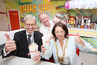 """NO REPRO FEE. 26/5/2011. EDDIE ROCKET'S STILLORGAN TAKES OFF WITH 10 NEW JOBS.  Pictured in the new Eddie Rocket's Shake Shop are Frank Murphy President of the Stillorglin Chamber of Commerce, Peter Fortune, owner and Cathadirleach of Dun Laoghaire Rathdown Co Co Clr Lettie Mc Carthy. The design seeks to recall the vintage milkshake bars from 1950's America and re-imagine them for the 21st century. The new look aims to appeal to both young and old with a quirky and bold colour scheme and a concept of make-your-own milkshakes, based on the tag line """"You make it...We shake it!"""". Eddie Rocket's City Diner in the Stillorgan Shopping Centre in south Dublin has re-opened after an exciting re-vamp and the addition of a Shake Shop. Ten new jobs have been created with the Diner's re-launch bringing the total working in Eddie Rocket's Stillorgan to 30. Picture James Horan/Collins Photos"""