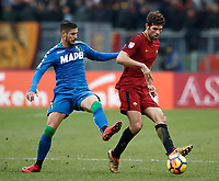 Calcio, Serie A: AS Roma - Sassuolo, Roma, stadio Olimpico, 30 dicembre 2017.<br /> Roma's Federico Fazio (r) in action with Sassuolo's Antonio Ragusa (l) during the Italian Serie A football match between AS Roma and Sassuolo at Rome's Olympic stadium, 30 December 2017.<br /> UPDATE IMAGES PRESS/Isabella Bonotto