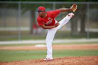 St. Louis Cardinals pitcher Estarlin Arias (25) during a Minor League Spring Training game against the Miami Marlins on March 26, 2018 at the Roger Dean Stadium Complex in Jupiter, Florida.  (Mike Janes/Four Seam Images)