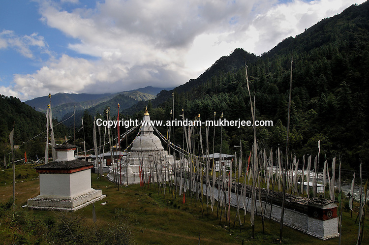 A Chorten(tomb for prayer/a religious tomb) on the way to Trongsha. Bhutan is a religious country and thousands of chortens of different sizes can be seen in this beautiful country. Arindam Mukherjee..