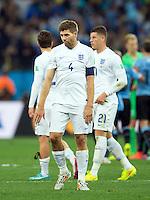 Steven Gerrard of England looks dejected