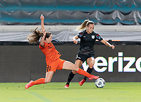 HOUSTON, TX - SEPTEMBER 10: Allysha Chapman #2 of the Houston Dash attempts to strip the ball from Rachel Hill #5 of the Chicago Red Stars during a game between Chicago Red Stars and Houston Dash at BBVA Stadium on September 10, 2021 in Houston, Texas.