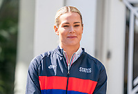 ORLANDO, FL - FEBRUARY 28: Ashlyn Harris #18 of the United States listens during a SheBelieves press conference at City Hall on February 28, 2020 in Orlando, Florida.