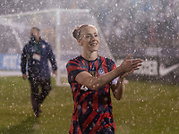 EAST HARTFORD, CT - JULY 1: Becky Sauerbrunn #4 of the USWNT waves to fans during a game between Mexico and USWNT at Rentschler Field on July 1, 2021 in East Hartford, Connecticut.